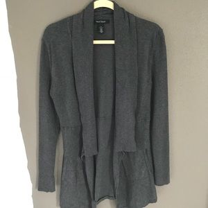 White House Black Market gray open front sweater